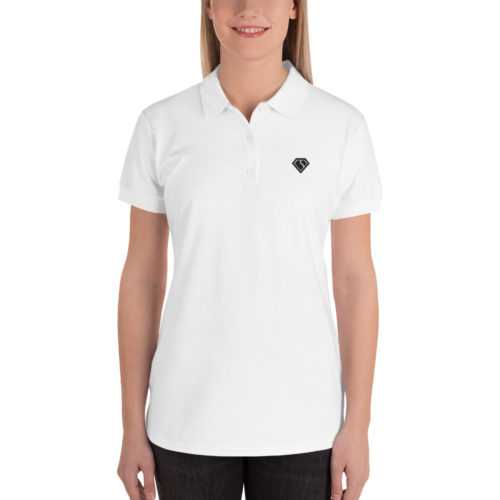 White Embroidered Women's Polo Shirt